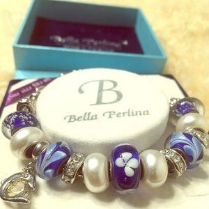 Bella Perlina Blue Dolphin Charm Bracelet